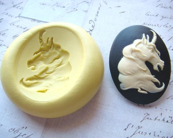 UNICORN - 40mm x 30mm - Flexible Silicone Mold - Push Mold, Jewelry Mold, Polymer Clay Mold, Resin Mold, Craft Mold, Food Mold, PMC Mold