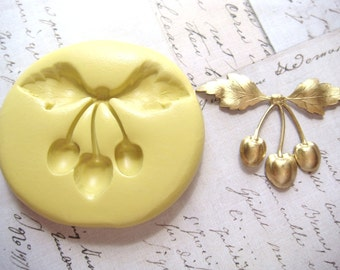 CHERRIES with Leaves - Flexible Silicone Mold - Push Mold, Polymer Clay, Resin Mold, Pmc Mold, Crafting Mold