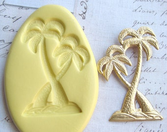 PALM TREES - Flexible Silicone Mold - Push Mold, Jewelry Mold, Polymer Clay Mold, Resin Mold, Craft Mold, Food Mold, PMC Mold