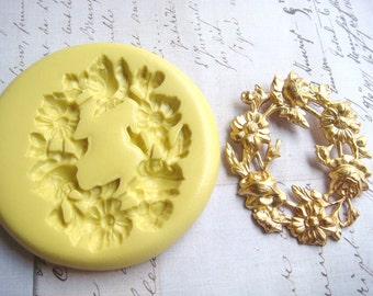 OVAL WREATH Roses and Daisies - Flexible Silicone Mold - Push Mold, Jewelry Mold, Polymer Clay Mold, Resin Mold, Craft Mold, PMC Mold