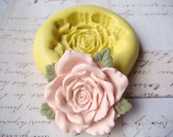 Rose with Petals (large) - Flexible Silicone Mold - Push Mold, Jewelry Mold, Polymer Clay Mold, Resin Mold, Craft Mold, Food Mold, PMC Mold