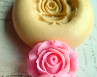 Rose Blossom design 3 - Flexible Silicone Mold - Push Mold, Jewelry Mold, Polymer Clay Mold, Resin Mold, Craft Mold, Food Mold, PMC Mold