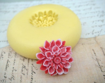 Dahlia Flower  - Flexible Silicone Mold - Push Mold, Jewelry Mold, Polymer Clay Mold, Resin Mold, Craft Mold, Food Mold, PMC Mold