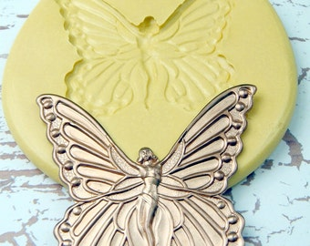 Butterfly Queen - Flexible Silicone Mold - Push Mold, Jewelry Mold, Polymer Clay Mold, Resin Mold, Craft Mold, PMC Mold