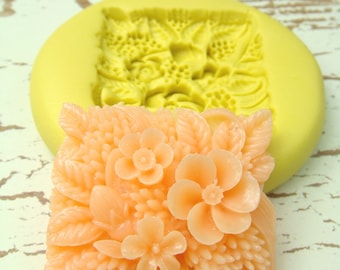 Square Flower Patch - Flexible Silicone Mold - Jewelry Mold, Polymer Clay Mold, Resin Mold, Craft Mold, PMC Mold