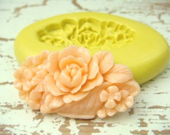 Flowers in a  Basket - Flexible Silicone Mold - Jewelry Mold, Polymer Clay Mold, Resin Mold, Craft Mold, PMC Mold