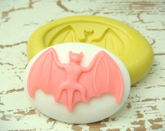 Bat Cameo - 40 x 30 mm Flexible Silicone Mold - Push Mold, Jewelry Mold, Polymer Clay Mold, Resin Mold