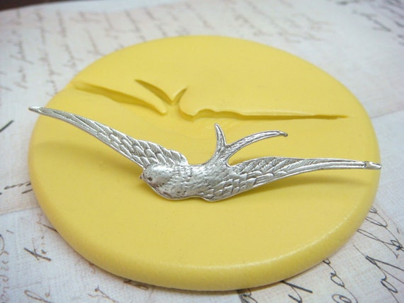 SWOOPING SWALLOW - Flexible Silicone Mold - Push Mold, Jewelry Mold, Polymer Clay Mold, Resin Mold, Craft Mold, Food Mold, PMC Mold