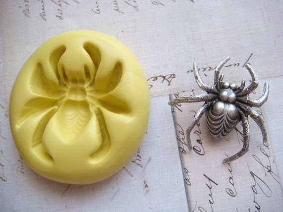 SPIDER ( design 1 ) - Flexible Silicone Mold - Push Mold, Jewelry Mold, Polymer Clay Mold, Resin Mold, Craft Mold, Food Mold, PMC Mold