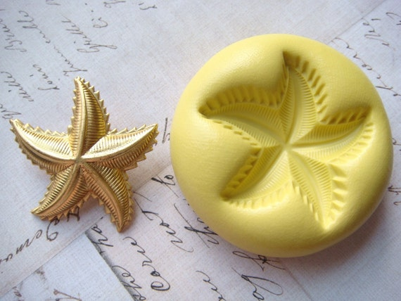 STARFISH with Spiked Edges - Flexible Silicone Mold - Push Mold, Polymer Clay, Pmc Mold, Resin Mold