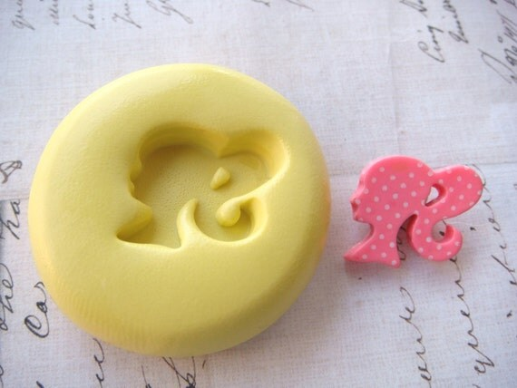 BARBIE (Right Facing) - Flexible Silicone Mold - Push Mold, Jewelry Mold, Polymer Clay Mold, Resin Mold, Craft Mold, Food Mold, PMC Mold