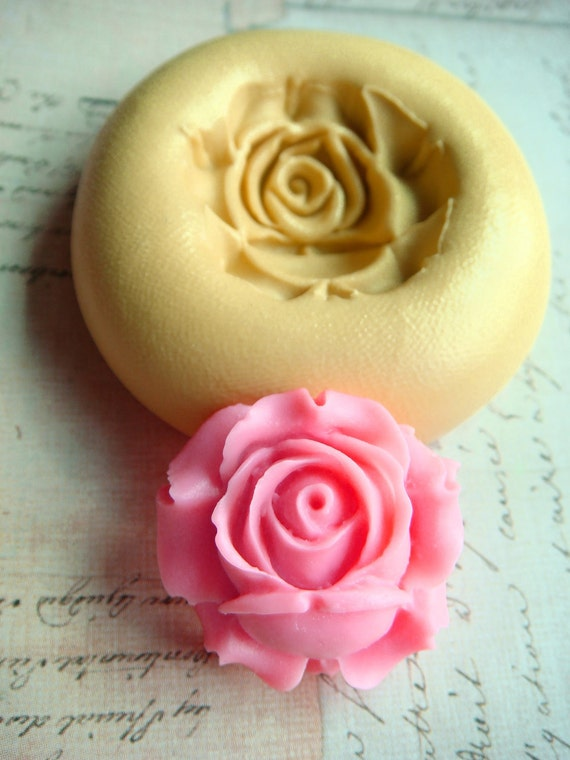 Rose Blossom - Flexible Silicone Mold - Push Mold, Jewelry Mold, Polymer Clay Mold, Resin Mold, Craft Mold, Food Mold, PMC Mold