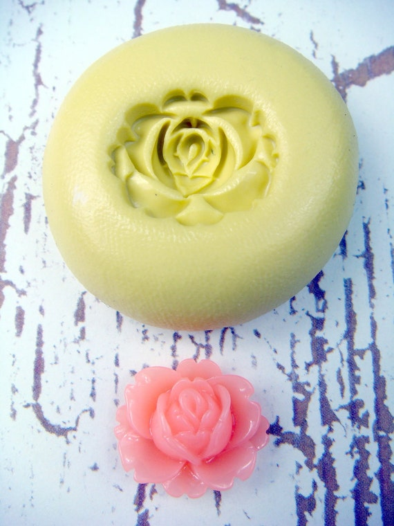 Rose Flower design 2 - Flexible Silicone Mold - Push Mold, Jewelry Mold, Polymer Clay Mold, Resin Mold, Craft Mold, Food Mold, PMC Mold