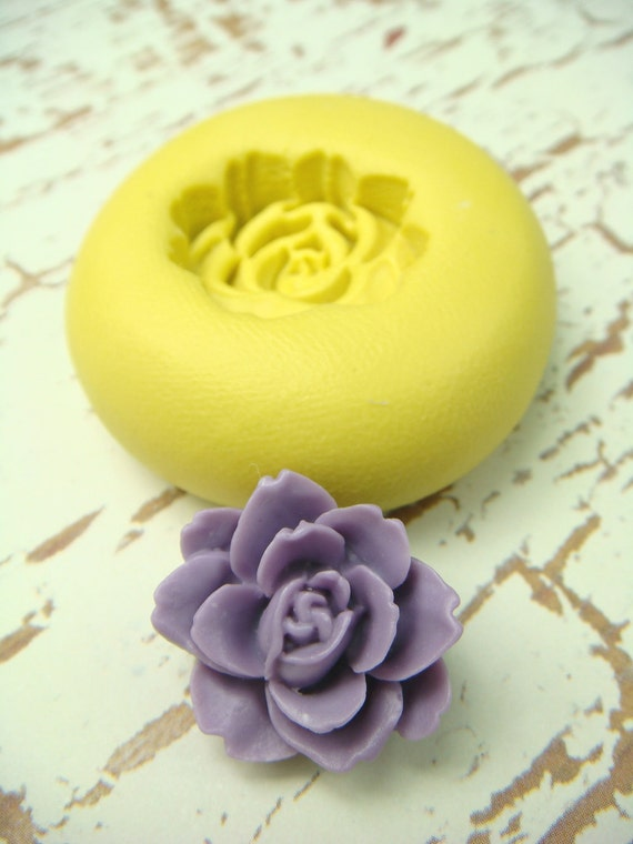 Flower Blossom design 7 - Flexible Silicone Mold - Push Mold, Jewelry Mold, Polymer Clay Mold, Resin Mold, Craft Mold, PMC Mold