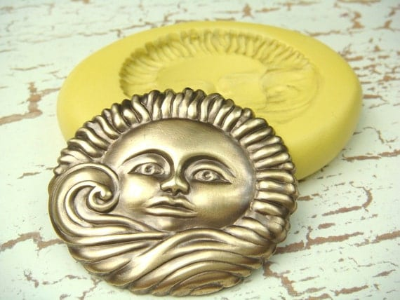 Sun - Flexible Silicone Mold - Push Mold, Jewelry Mold, Polymer Clay Mold, Resin Mold
