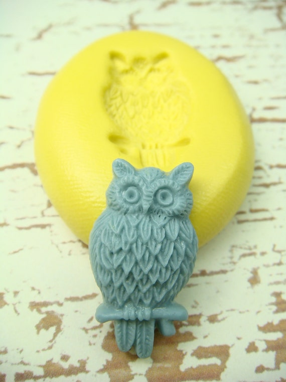 Owl on a Branch - Flexible Silicone Mold - Jewelry Mold, Polymer Clay Mold, Resin Mold, Craft Mold, PMC Mold