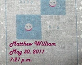 Baby Quilt Label - Blue Smiling Faces, Custom Made & Hand Embroidered