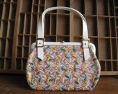 Vintage 1960s Purse Flowers Embroidered White Handbag Mad Men Mod Style