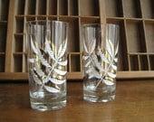 Leaf Drinking Glasses / Vintage Barware with Gold Leaves
