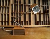 Brown Mid Century Lamp / Brown Tensor Desk Lamp / Faux Bois Task Lamp
