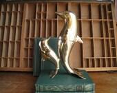 Vintage Brass Dolphin Statue or Figurine Nautical Decor