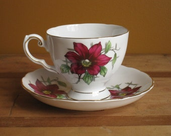 Vintage China Teacup with Burgundy Clematis / Tea Cup by Tuscan China with Flower