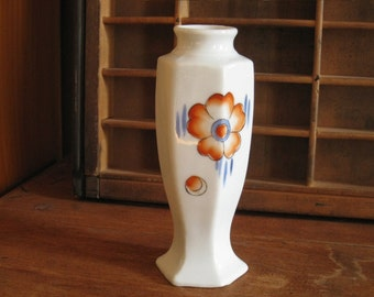 Vintage Chinoiserie Vase White with Orange Flower Made in Japan