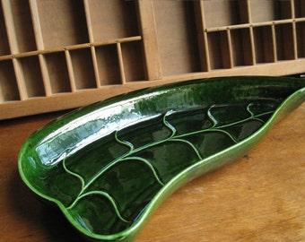 Green Ceramic Leaf Dish