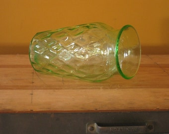 Vintage Green Glass Vase Wedding Decor Depression Glass Vase