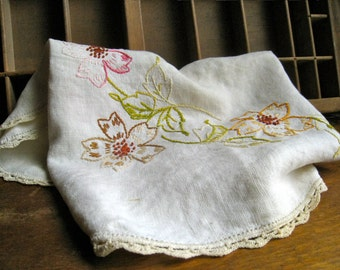 Flower Embroidery Linen with Crochet Trim