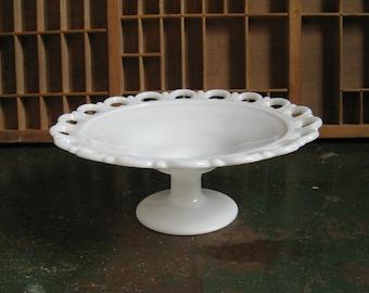 White Milk Glass Pedestal Bowl with Lace Edge