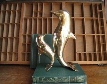 Vintage Brass Dolphin Statue or Figurine Nautical Decor