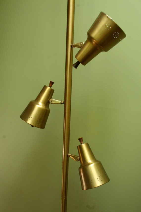 1950s Tension Pole Lamp In Gold Brass Metal Mid Century Modern