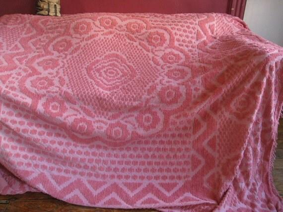 Vintage Pink Chenille Bedspread Queen Chenille Bedspread