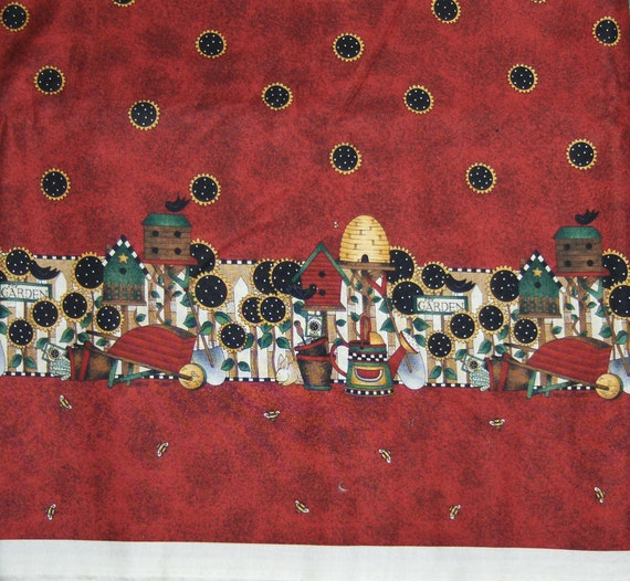 Mumm's the Word for SSI Fabrics - Garden Theme Border fabric on Deep Red Background - 1 yard end of bolt
