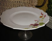 Spring Garden Pedestal Cake Stand Serving Piece - Candle Holder - Plant Stand - Cloche - Cake Plate