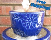 3-Tiers in Cobalt Blue Water Fountian- Free Shipping- indoor fountian- outdoor fountain