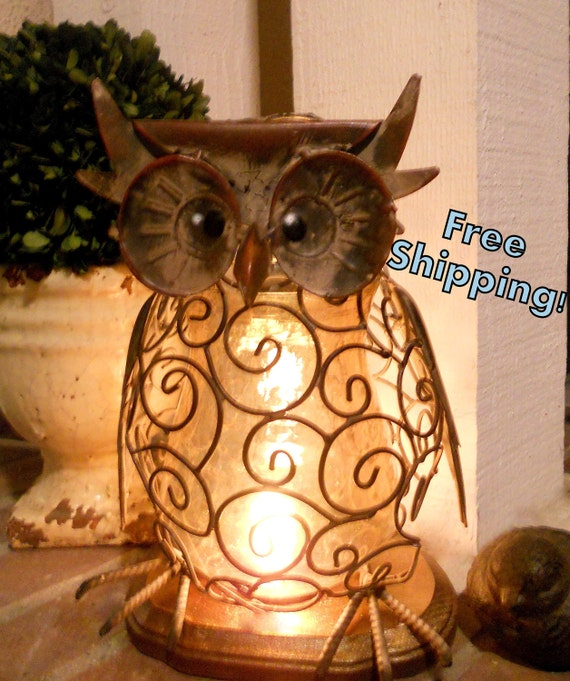 Items similar to wise and wired owl lamp night light for Owl decorations for the home