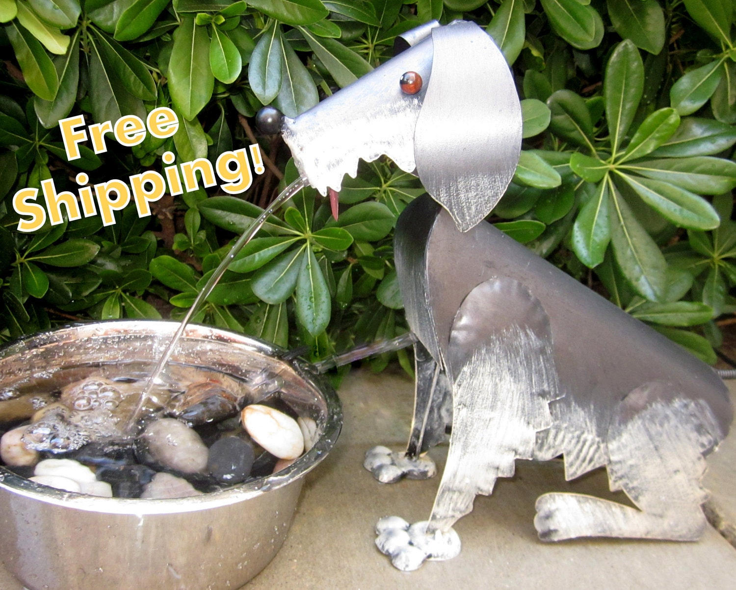 Spitting dog water fountain outdoor water by noodledoodesigns