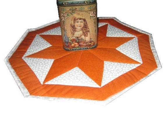 Glimmering Orange 8 Point Star Candle or Table Mat