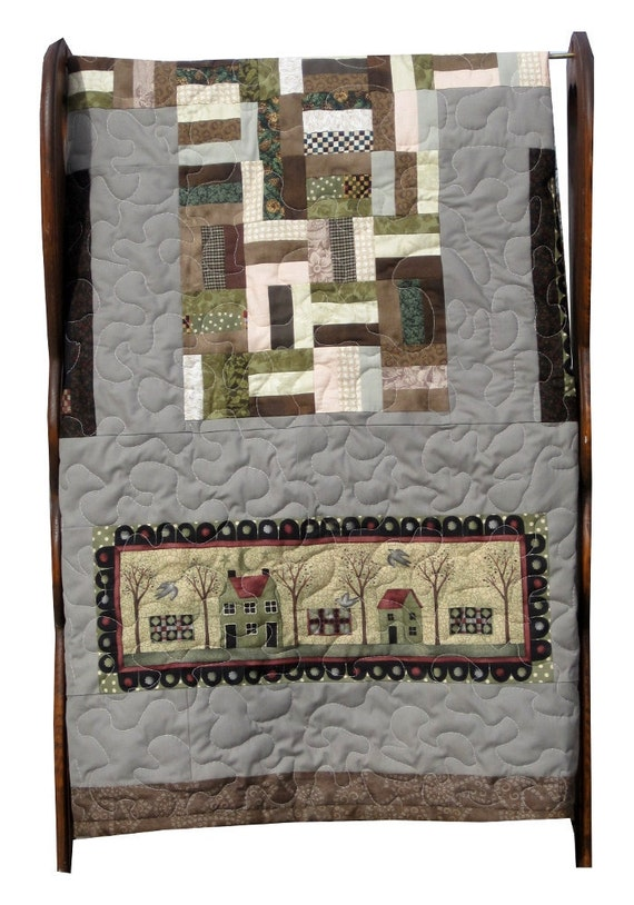 "Primitive Quilt, Twin or Full Size, Moda Fabric, 60"" x 80"""