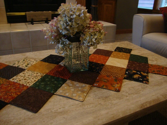 Quilted Table Runner in Fall Colors