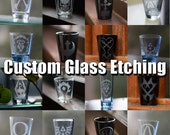Custom Etched Wedding Shot Glasses - Variety of glasses to choose from