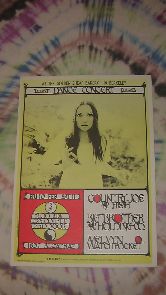 Berkeley psychedelic era Rock and Roll Poster - Janis Joplin w/ Big Brother, Country Joe and the Fish