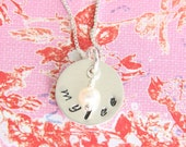 Lovely... Handstamped 5/8 inch personalized sterling silver necklace