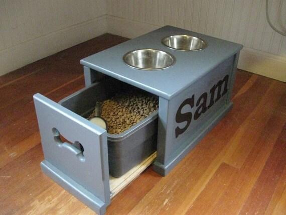 Personalized Dog feeding station.