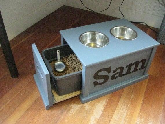 personalized dog feeding station by samsworkshop on etsy. Black Bedroom Furniture Sets. Home Design Ideas