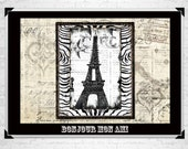 Bonjour Mon Ami Eiffel Tower Print 8x10 - Free Ship in U.S.