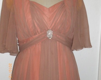 Mid to late 50s Ginger Roger like Gown with rhinestone accent