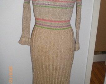 70s sparkly Tan disco dress